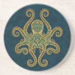 Intricate Golden Blue Octopus Coasters