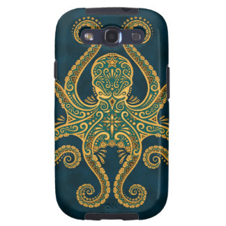 Intricate Golden Blue Octopus Galaxy SIII Cases