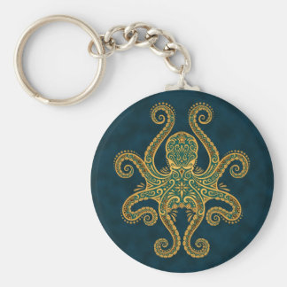 Intricate Golden Blue Octopus Basic Round Button Keychain