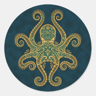 Intricate Golden Blue Octopus Sticker