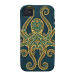 Intricate Golden Blue Octopus Vibe iPhone 4 Covers