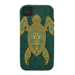 Intricate Golden Blue Sea Turtle Vibe iPhone 4 Case