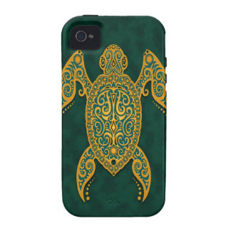 Intricate Golden Blue Sea Turtle Vibe iPhone 4 Case