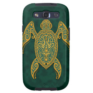 Intricate Golden Blue Sea Turtle Galaxy S3 Case