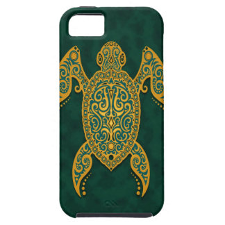 Intricate Golden Blue Sea Turtle iPhone 5 Case
