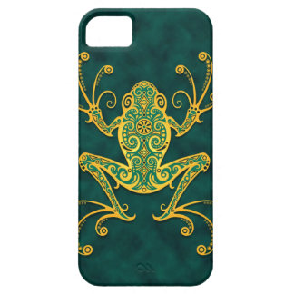 Intricate Golden Blue Tree Frog iPhone 5 Cases