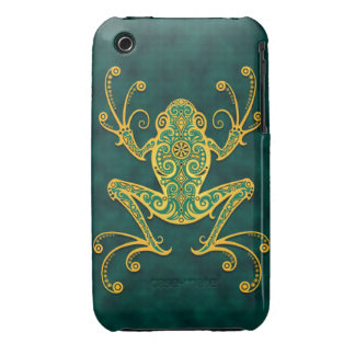 Intricate Golden Blue Tree Frog iPhone 3 Case-Mate Cases
