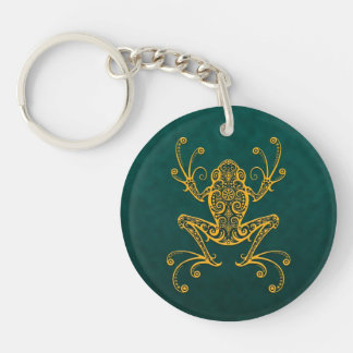 Intricate Golden Blue Tree Frog Keychain