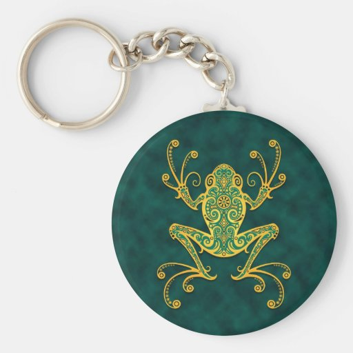 Intricate Golden Blue Tree Frog Key Chains