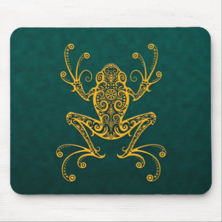 Intricate Golden Blue Tree Frog Mouse Pad