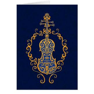 Intricate Golden Blue Violin Design Greeting Card