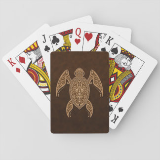 Intricate Golden Brown Sea Turtle Card Deck