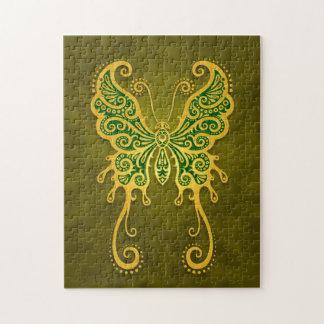Intricate Golden Green Butterfly Jigsaw Puzzle