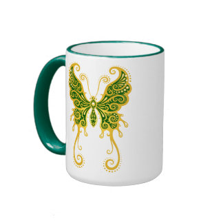 Intricate Golden Green Butterfly Ringer Coffee Mug