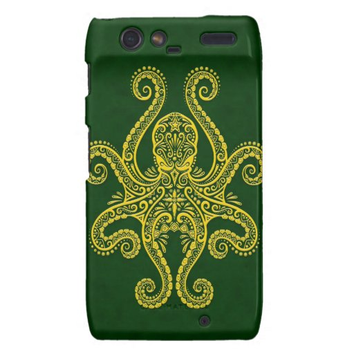 Intricate Golden Green Octopus Droid RAZR Covers