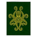 Intricate Golden Green Octopus Greeting Card