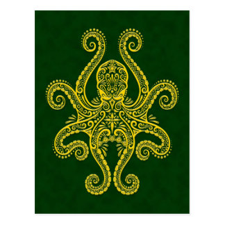 Intricate Golden Green Octopus Postcard