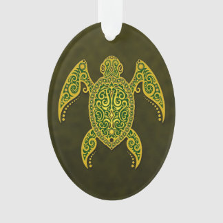Intricate Golden Green Sea Turtle Ornament