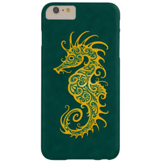Intricate Golden Green Seahorse Design Barely There iPhone 6 Plus Case