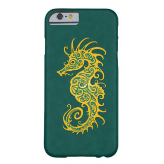 Intricate Golden Green Seahorse Design Barely There iPhone 6 Case