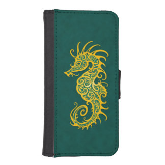 Intricate Golden Green Seahorse Design Phone Wallets