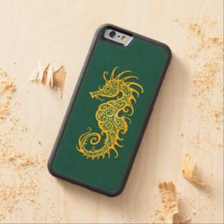 Intricate Golden Green Seahorse Design Carved® Maple iPhone 6 Bumper