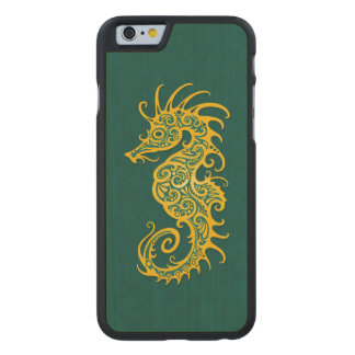 Intricate Golden Green Seahorse Design Carved® Maple iPhone 6 Case