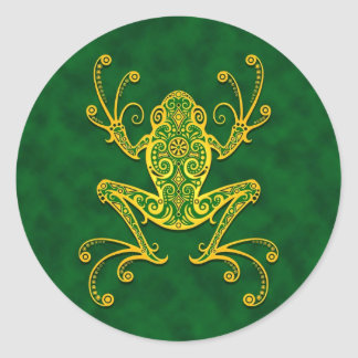 Intricate Golden Green Tree Frog Classic Round Sticker