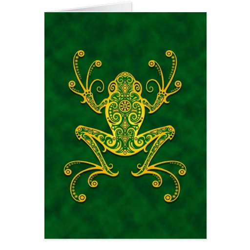 Intricate Golden Green Tree Frog Greeting Card