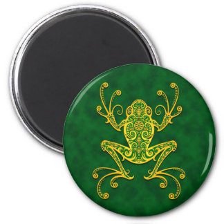 Intricate Golden Green Tree Frog Magnet