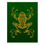 Intricate Golden Green Tree Frog Postcard