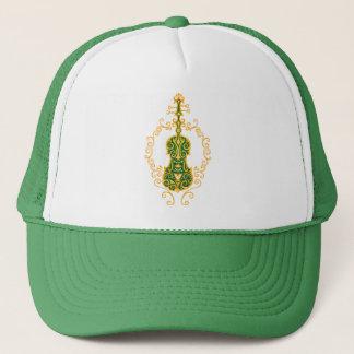 Intricate Golden Green Violin Design Trucker Hat