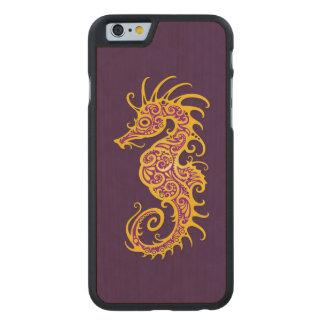 Intricate Golden Purple Seahorse Design Carved® Maple iPhone 6 Case