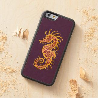Intricate Golden Purple Seahorse Design Carved® Maple iPhone 6 Bumper
