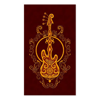 Intricate Golden Red Bass Guitar Design Double-Sided Standard Business Cards (Pack Of 100)