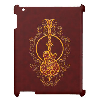 Intricate Golden Red Guitar Design iPad Covers