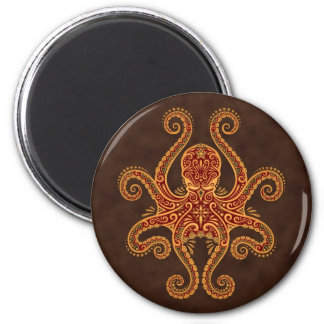Intricate Golden Red Octopus 2 Inch Round Magnet