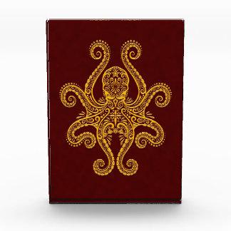 Intricate Golden Red Octopus Acrylic Award