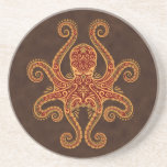Intricate Golden Red Octopus Beverage Coaster
