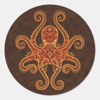 Intricate Golden Red Octopus Classic Round Sticker
