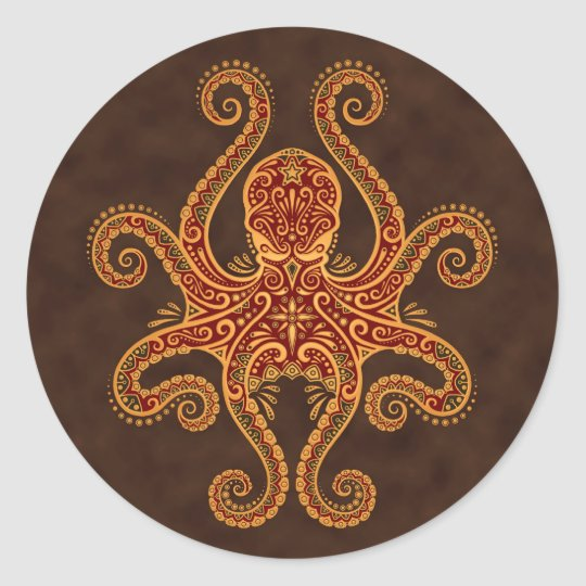 Intricate Golden Red Octopus Classic Round Sticker