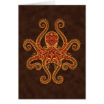 Intricate Golden Red Octopus Greeting Card