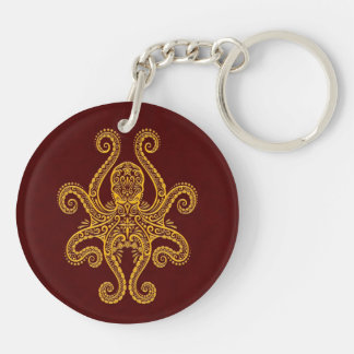 Intricate Golden Red Octopus Keychain