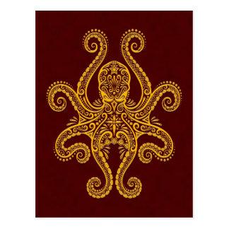 Intricate Golden Red Octopus Postcard