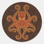 Intricate Golden Red Octopus Round Sticker