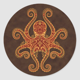 Intricate Golden Red Octopus Stickers