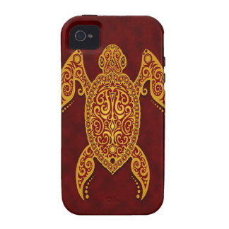 Intricate Golden Red Sea Turtle Case-Mate iPhone 4 Cases