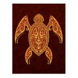 Intricate Golden Red Sea Turtle Postcard