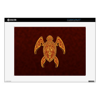 "Intricate Golden Red Sea Turtle 15"" Laptop Decal"
