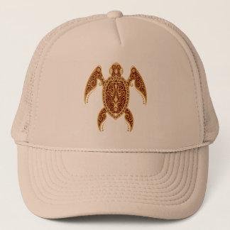 Intricate Golden Red Sea Turtle Trucker Hat